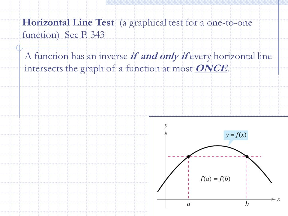 Horizontal Line Test (a graphical test for a one-to-one function) See P. 343