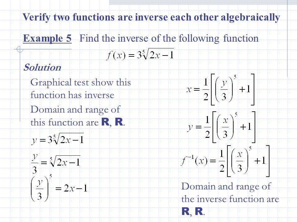 Verify two functions are inverse each other algebraically