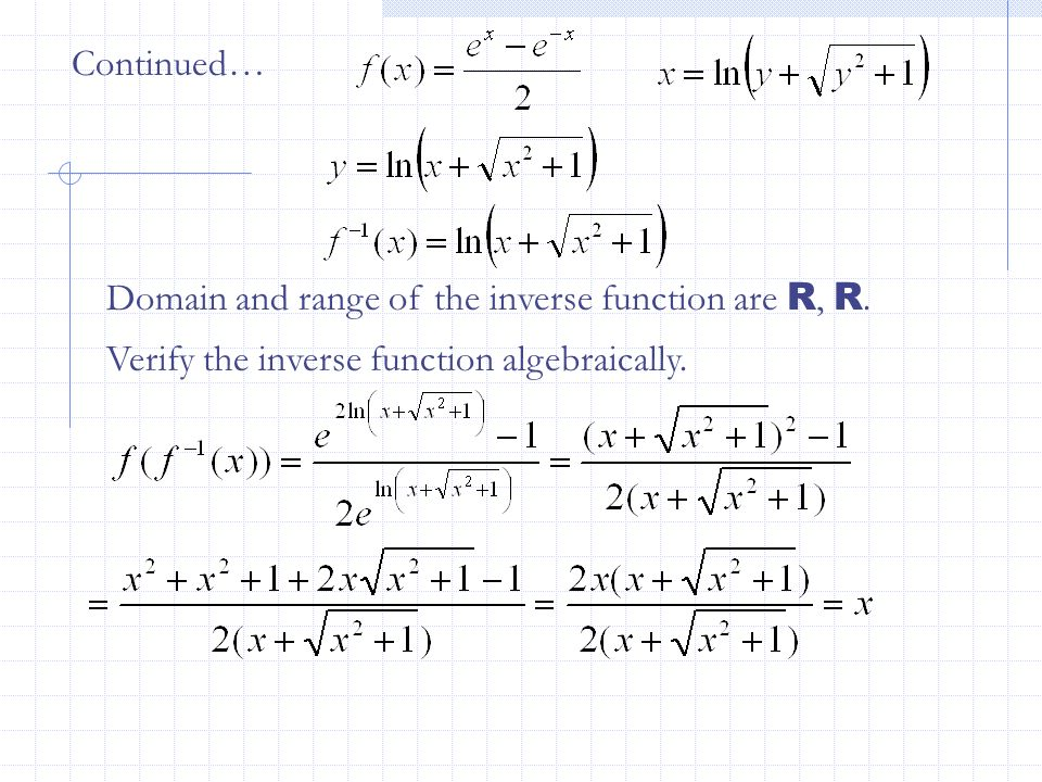 Continued… Domain and range of the inverse function are R, R.