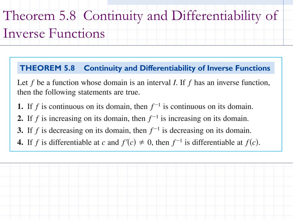 Theorem 5.8 Continuity and Differentiability of Inverse Functions