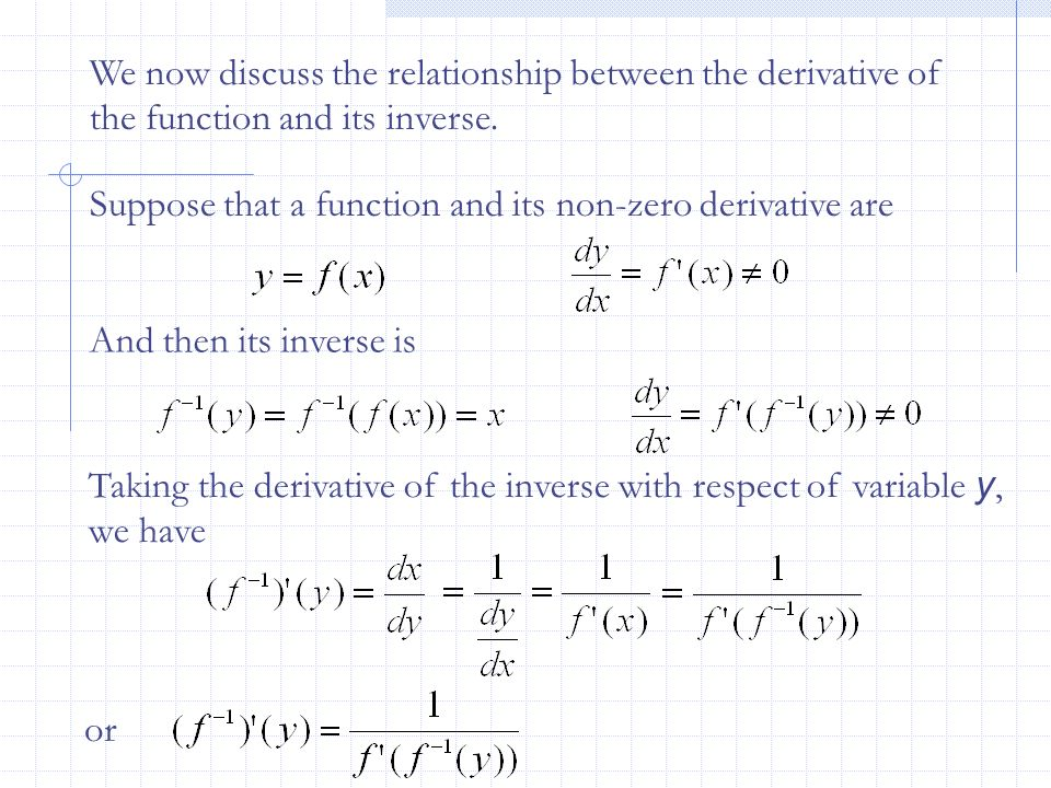 We now discuss the relationship between the derivative of the function and its inverse.