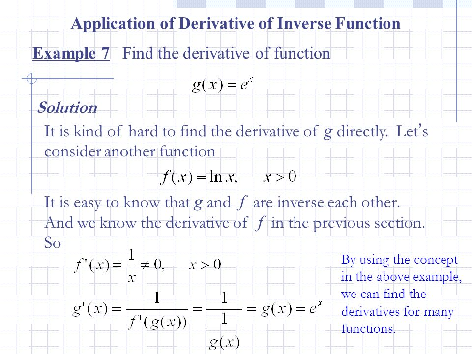 Application of Derivative of Inverse Function
