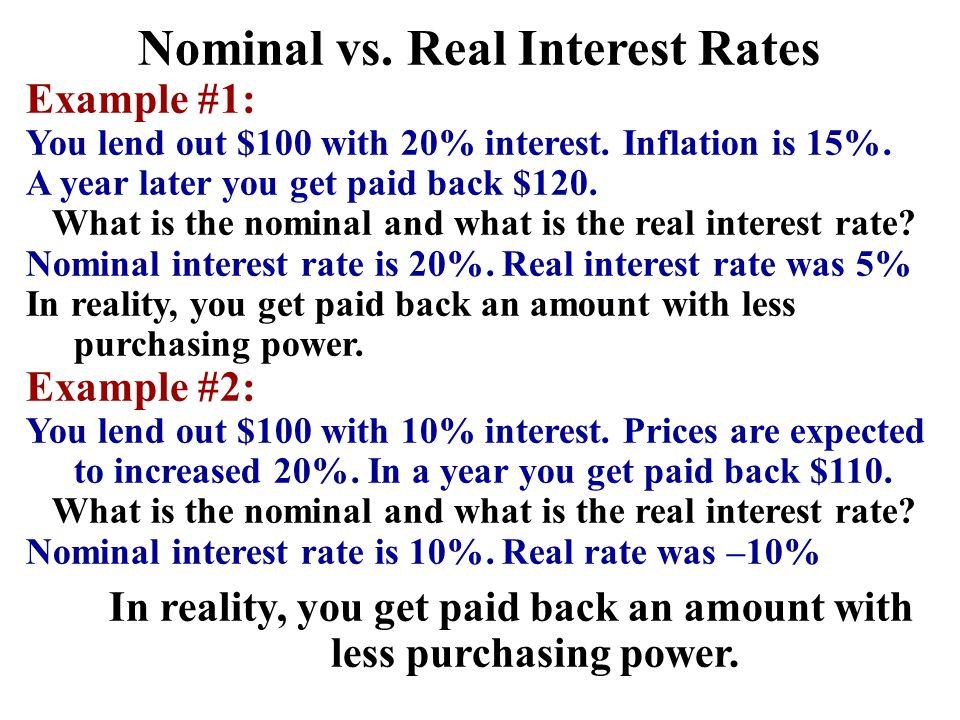 Nominal vs. Real Interest Rates