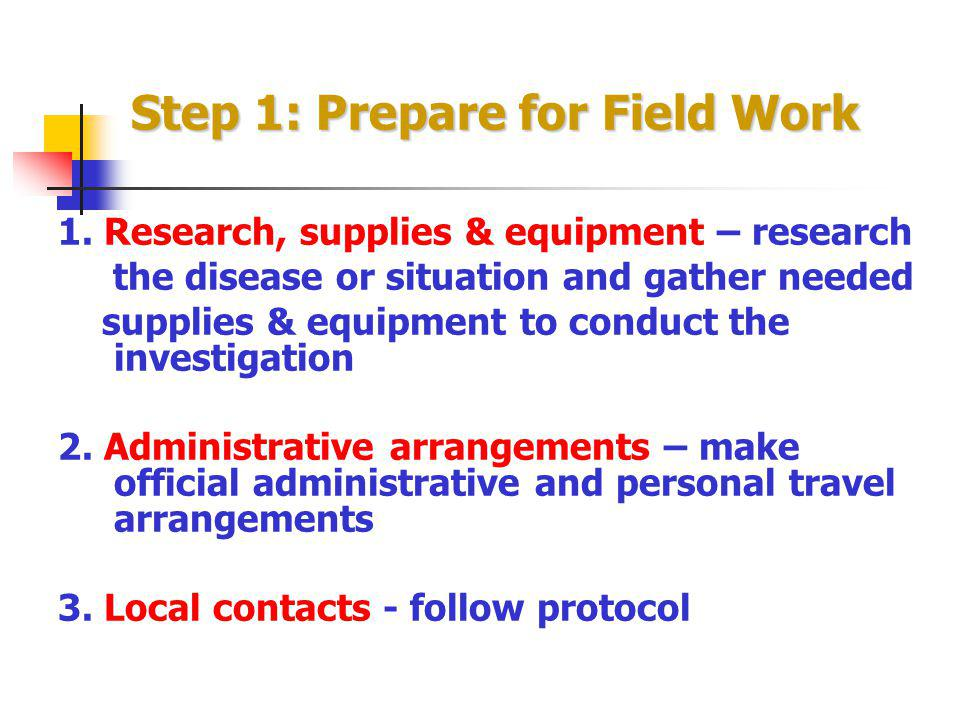 Step 1: Prepare for Field Work