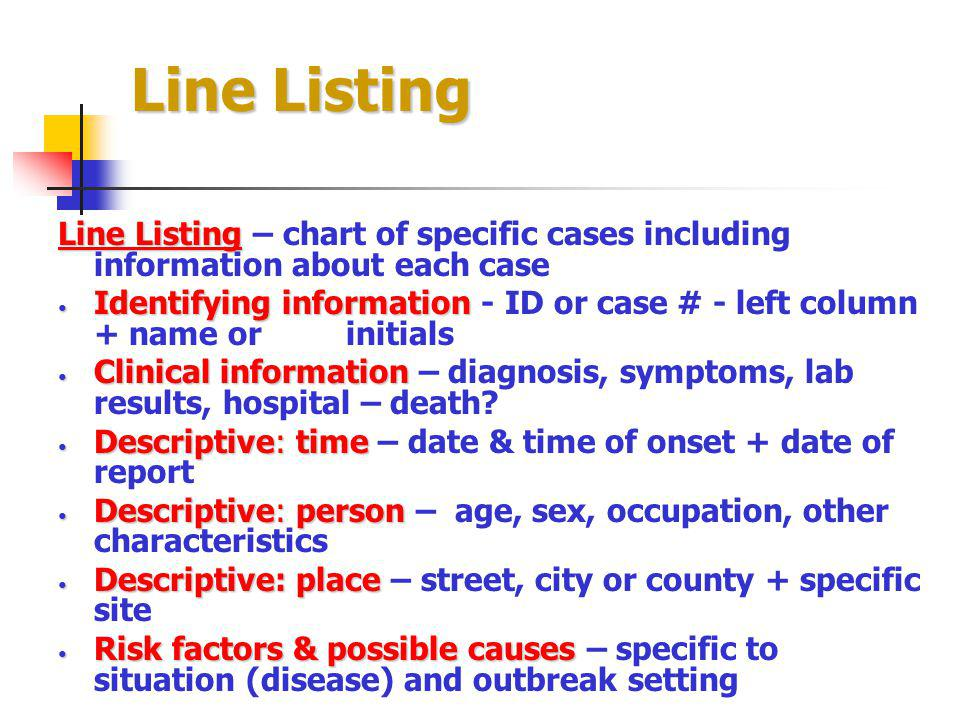 Line Listing Line Listing – chart of specific cases including information about each case.