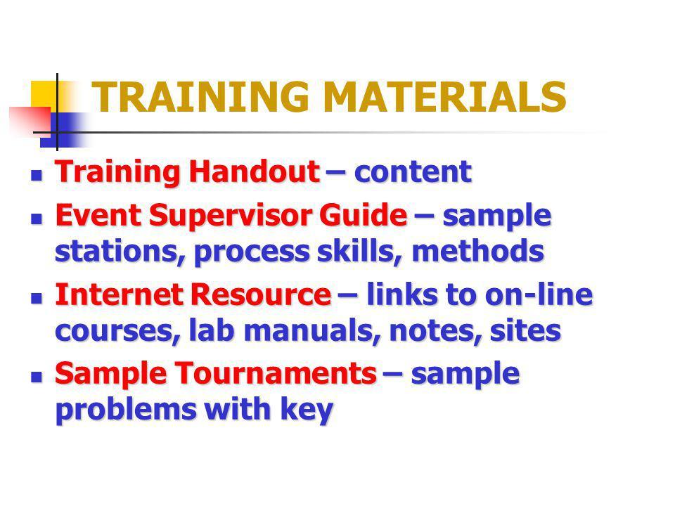 TRAINING MATERIALS Training Handout – content