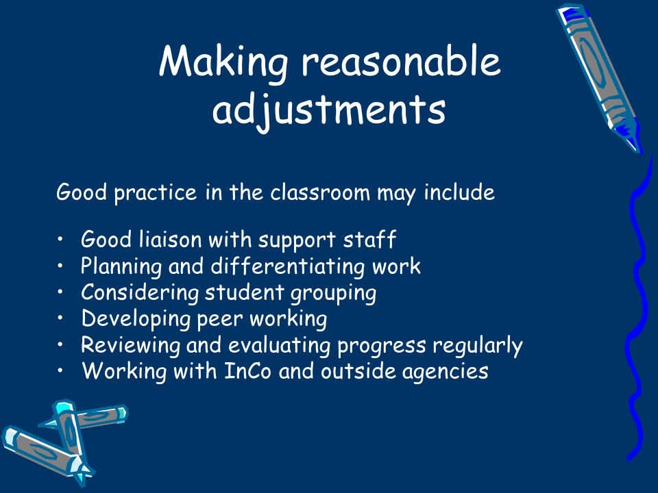 Making reasonable adjustments
