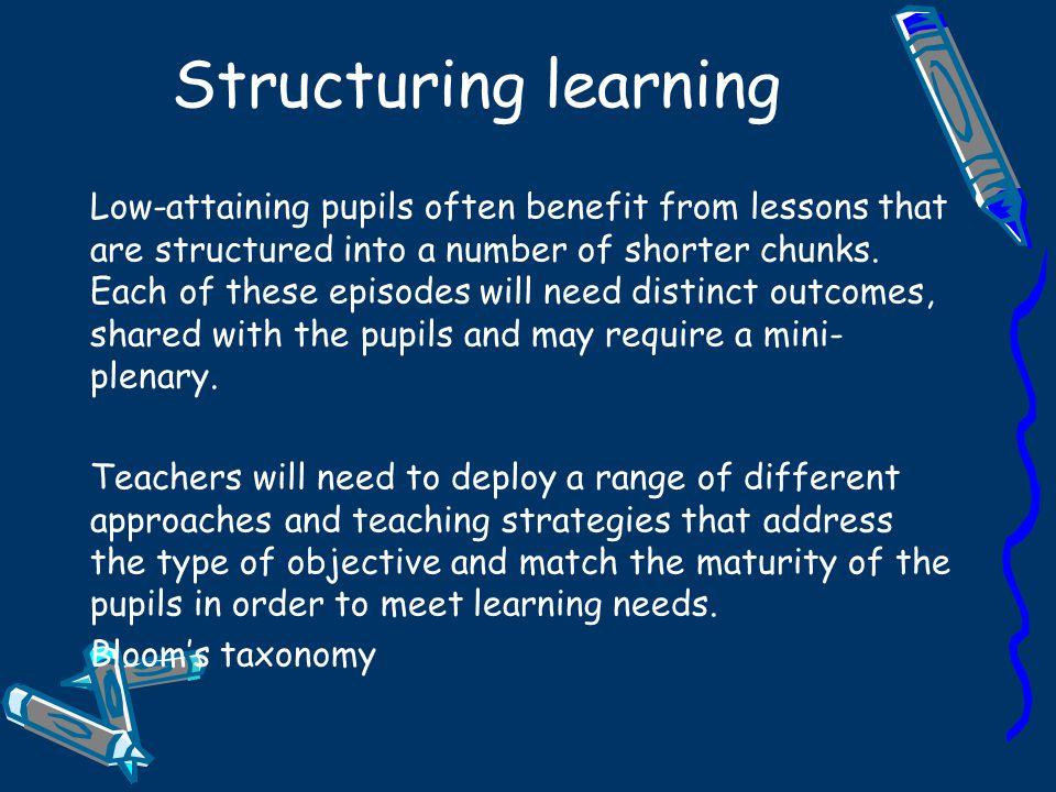 Structuring learning