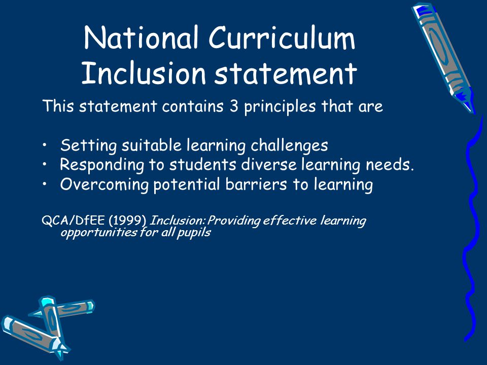 National Curriculum Inclusion statement