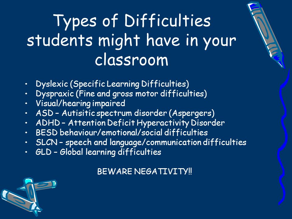 Types of Difficulties students might have in your classroom