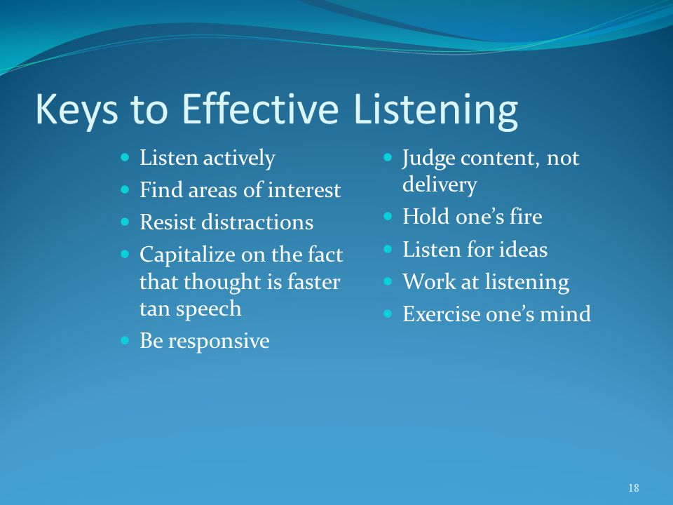 Keys to Effective Listening