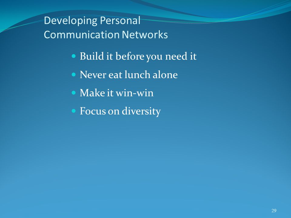Developing Personal Communication Networks