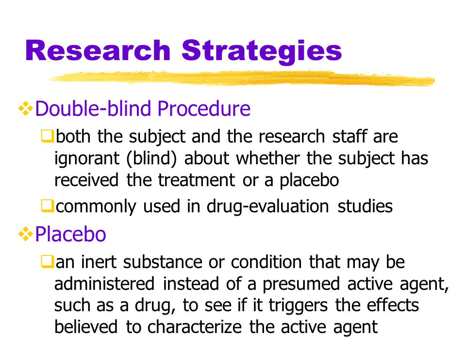Research Strategies Double-blind Procedure Placebo