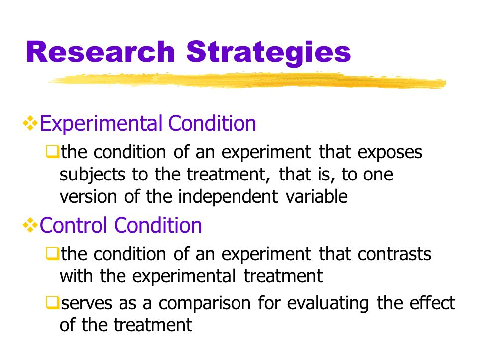 Research Strategies Experimental Condition Control Condition
