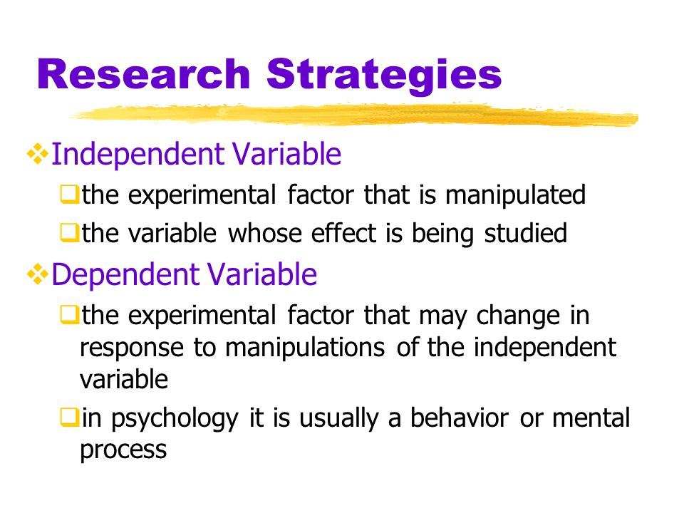 Research Strategies Independent Variable Dependent Variable