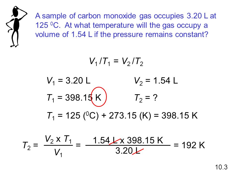 A sample of carbon monoxide gas occupies L at 125 0C