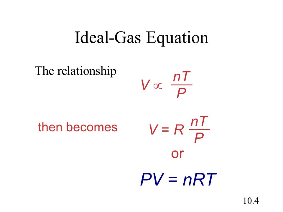 Ideal-Gas Equation PV = nRT nT P V  nT P V = R or The relationship