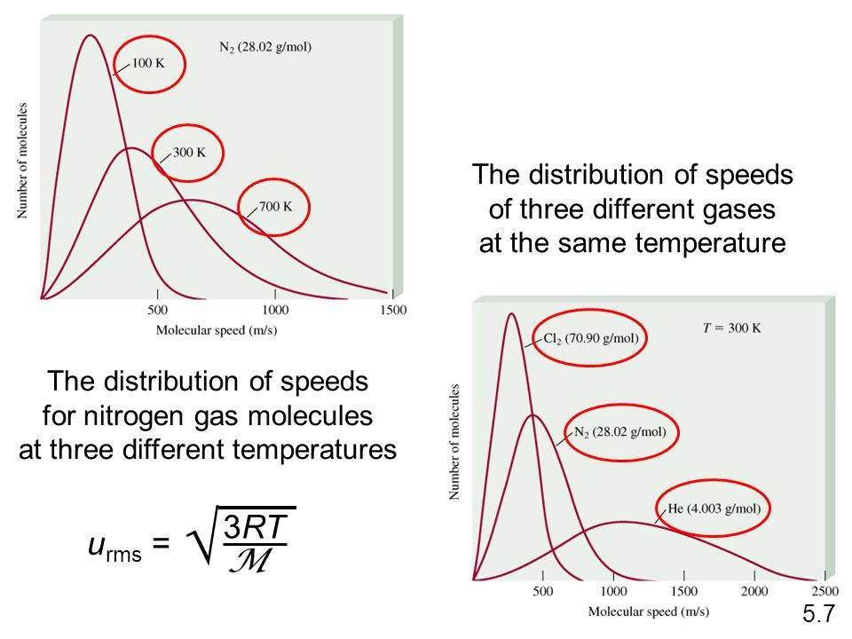  3RT urms = M The distribution of speeds of three different gases