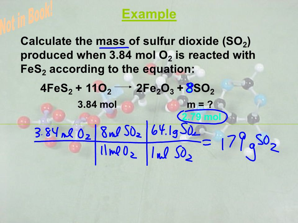 Example Not in Book! Calculate the mass of sulfur dioxide (SO2) produced when 3.84 mol O2 is reacted with FeS2 according to the equation: