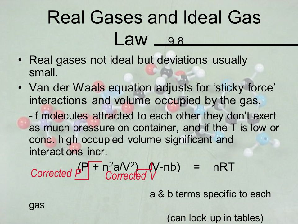 Real Gases and Ideal Gas Law 9.8