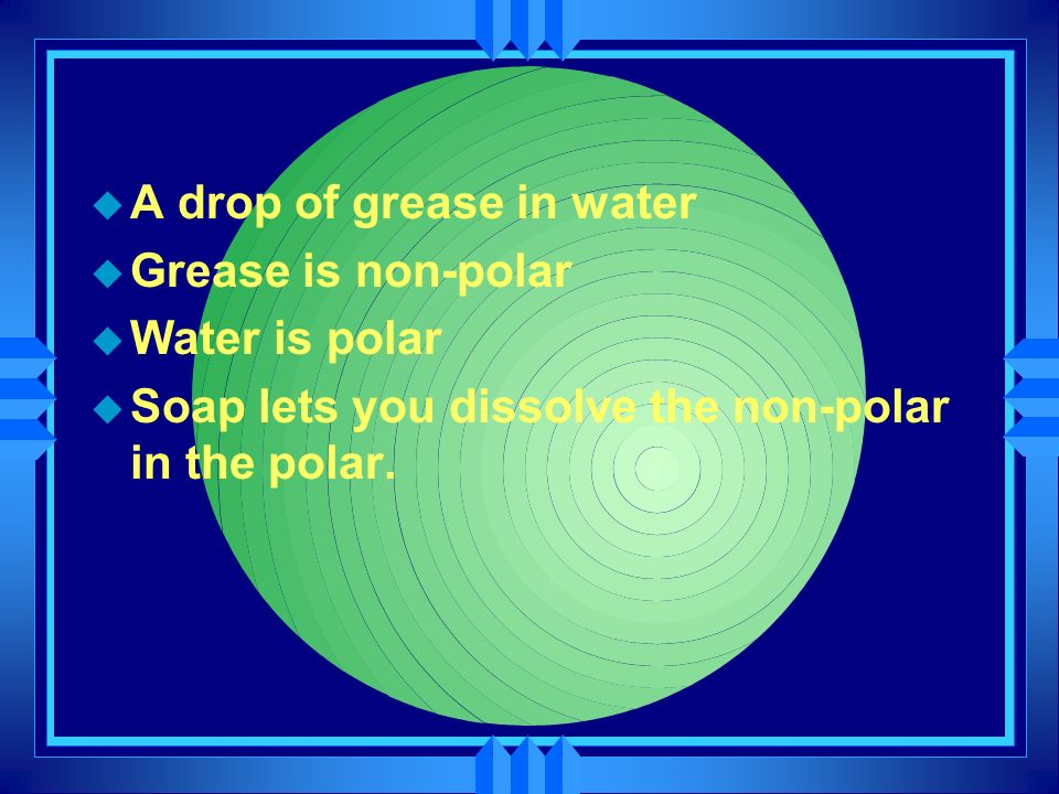 A drop of grease in water