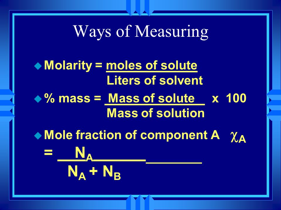 Ways of Measuring Molarity = moles of solute Liters of solvent