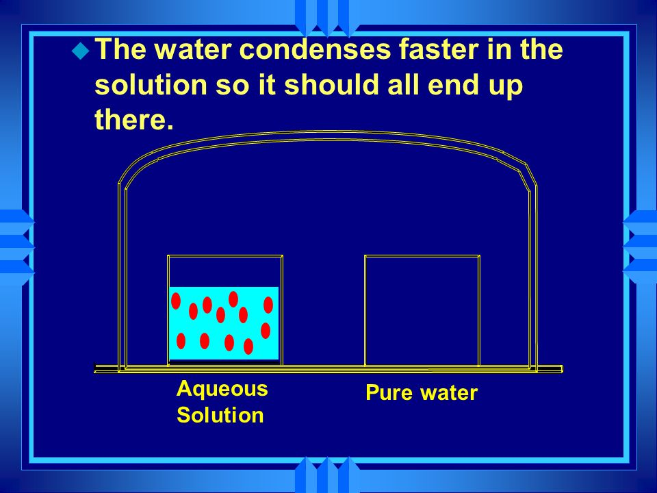 The water condenses faster in the solution so it should all end up there.