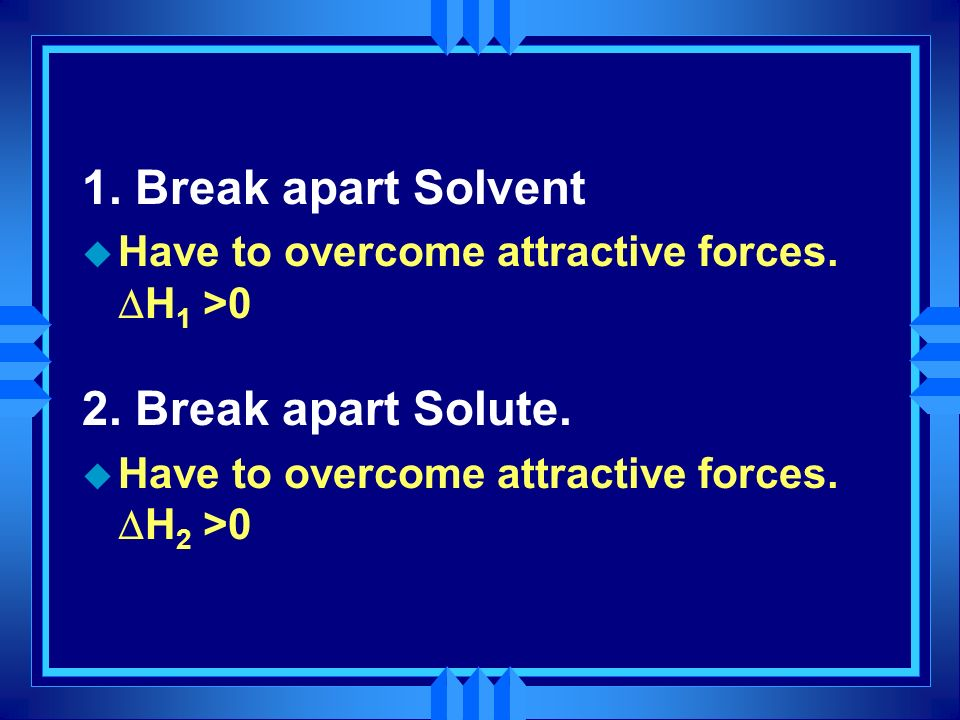 1. Break apart Solvent 2. Break apart Solute.