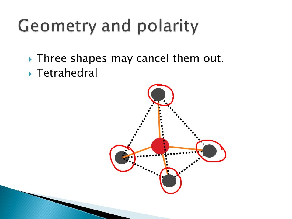 Geometry and polarity Three shapes may cancel them out. Tetrahedral
