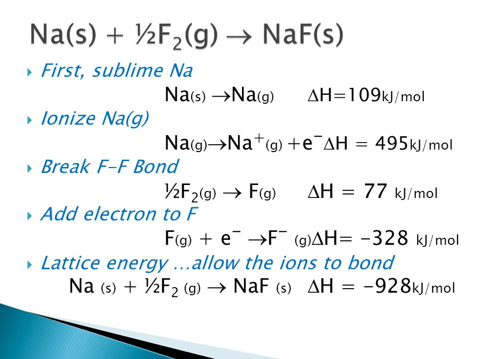 Na(s) + ½F2(g) ® NaF(s) Na(s) ®Na(g) DH=109kJ/mol