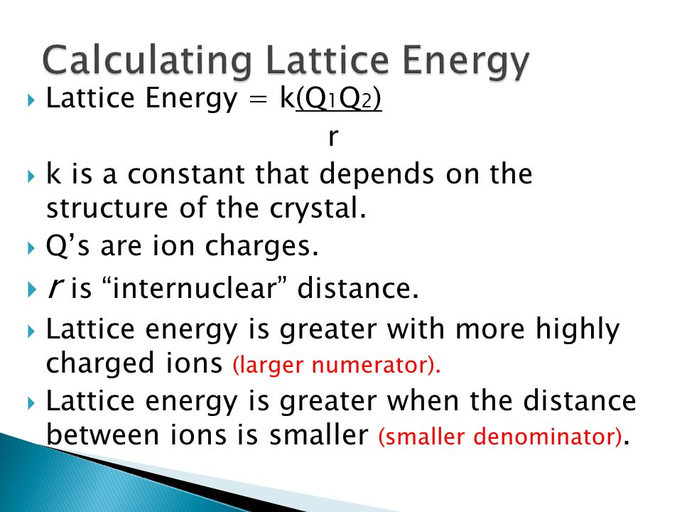 Calculating Lattice Energy