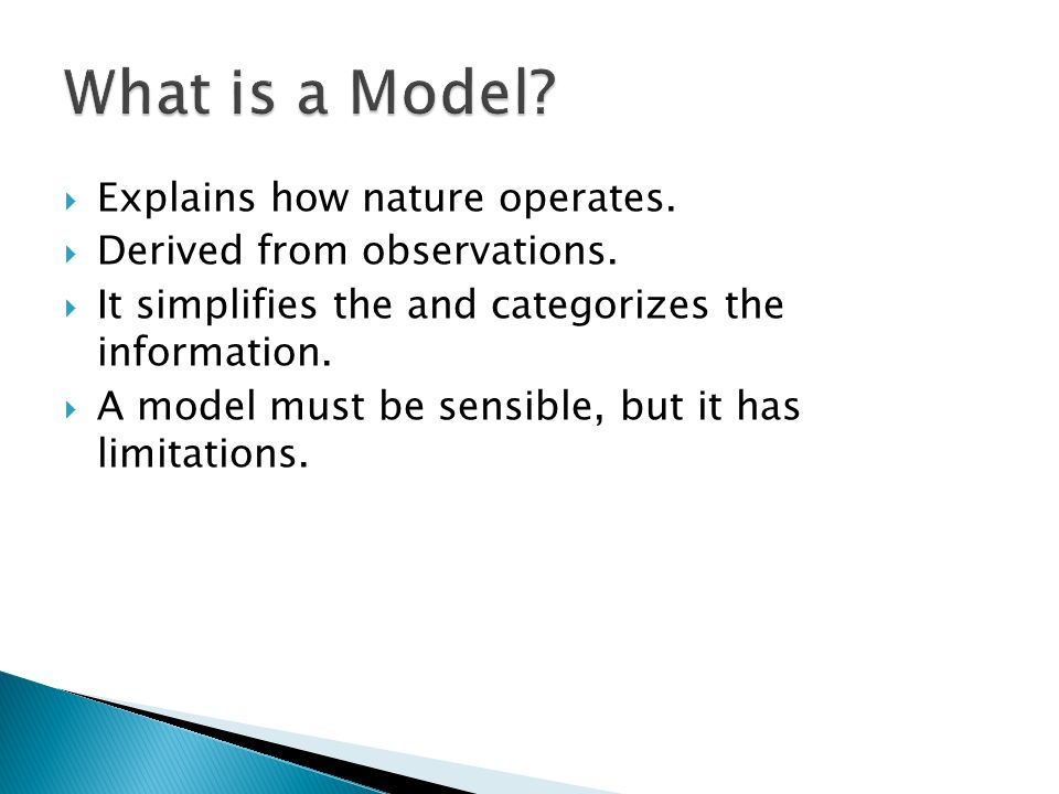 What is a Model Explains how nature operates.