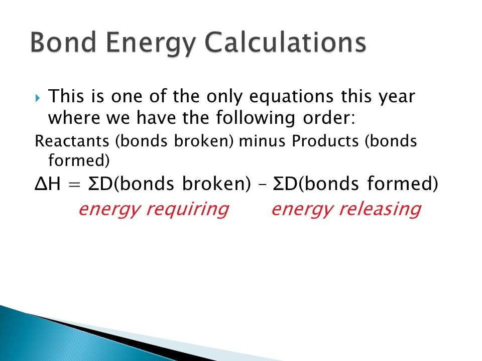 Bond Energy Calculations