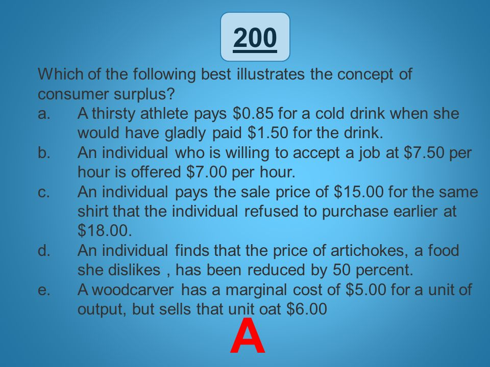 200 Which of the following best illustrates the concept of consumer surplus