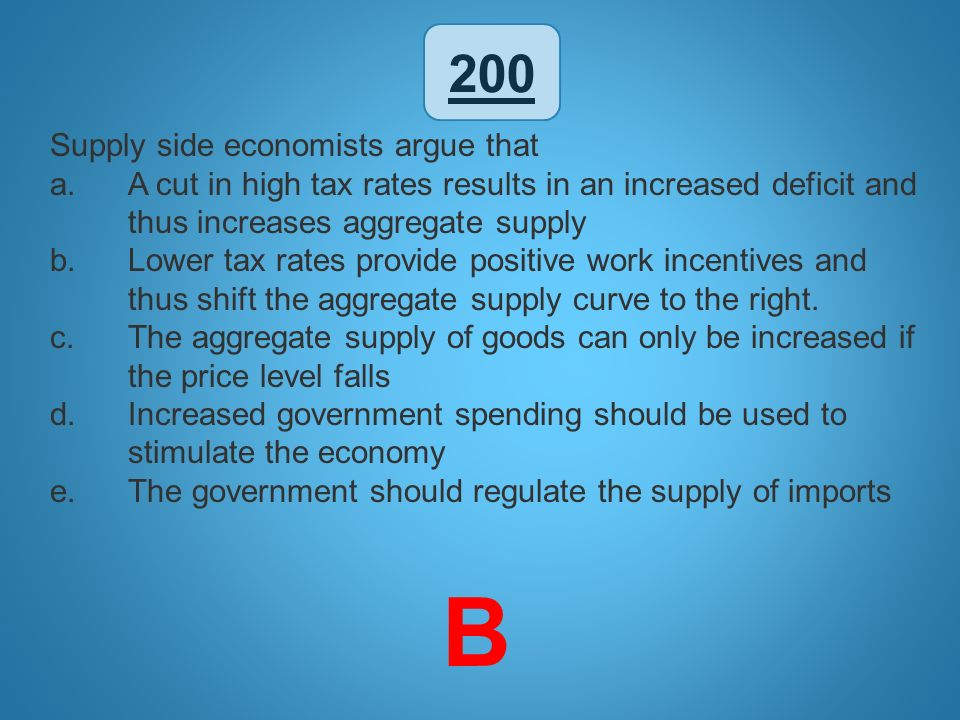 B 200 Supply side economists argue that
