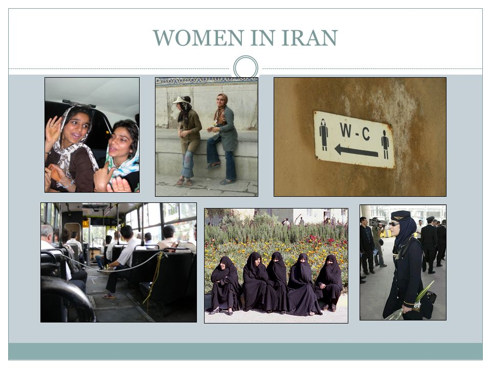 WOMEN IN IRAN Pictures. Top row: girls singing in car (Shiraz), girls in Isfahan, sign for WC (notice woman with headcovering)