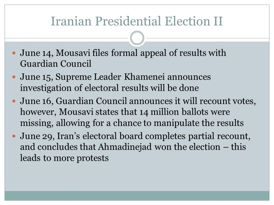 Iranian Presidential Election II