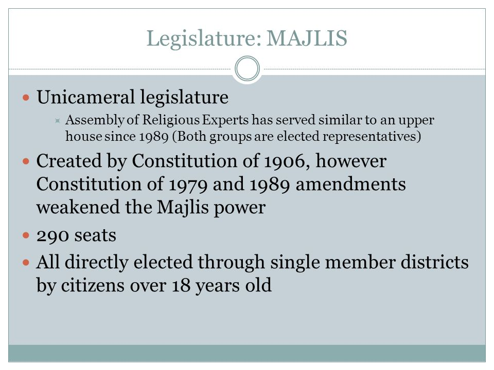 Legislature: MAJLIS Unicameral legislature