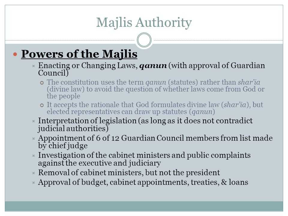 Majlis Authority Powers of the Majlis