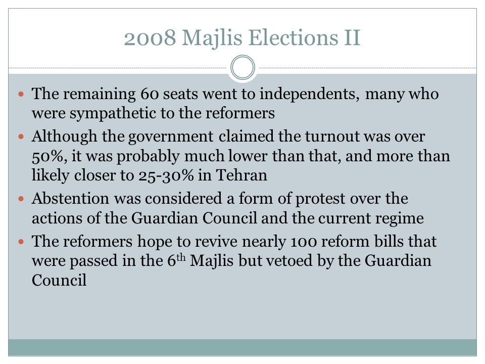 2008 Majlis Elections II The remaining 60 seats went to independents, many who were sympathetic to the reformers.