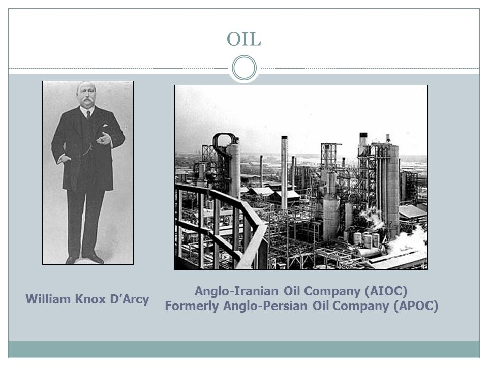 OIL Anglo-Iranian Oil Company (AIOC) William Knox D'Arcy