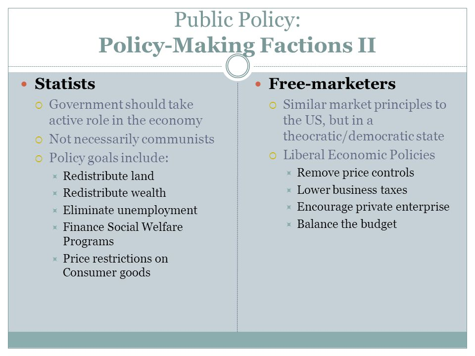Public Policy: Policy-Making Factions II