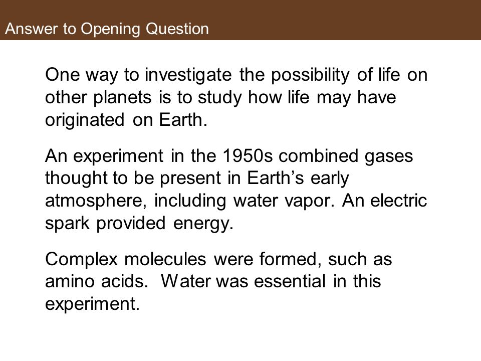 Answer to Opening Question