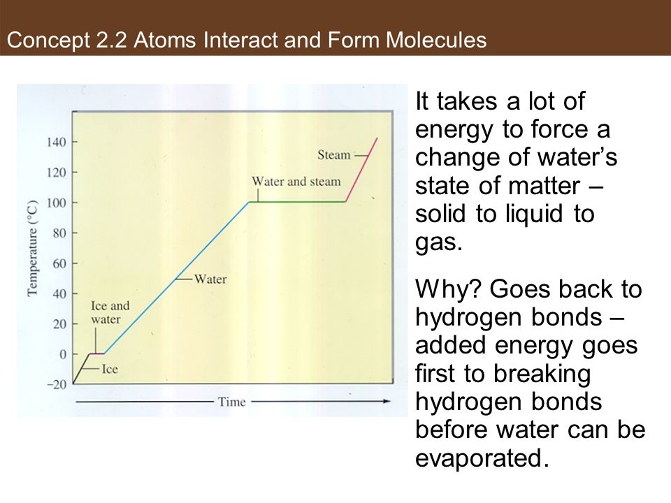 Heating Curve of Water It takes a lot of energy to force a change of water's state of matter – solid to liquid to gas.