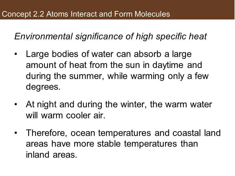 Environmental significance of high specific heat
