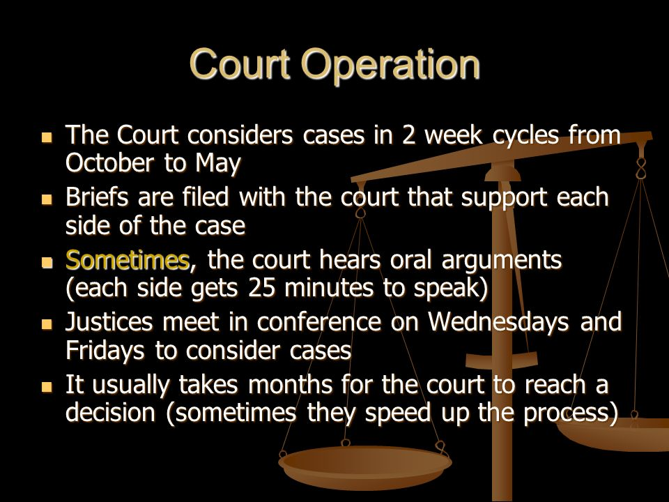 Court Operation The Court considers cases in 2 week cycles from October to May. Briefs are filed with the court that support each side of the case.