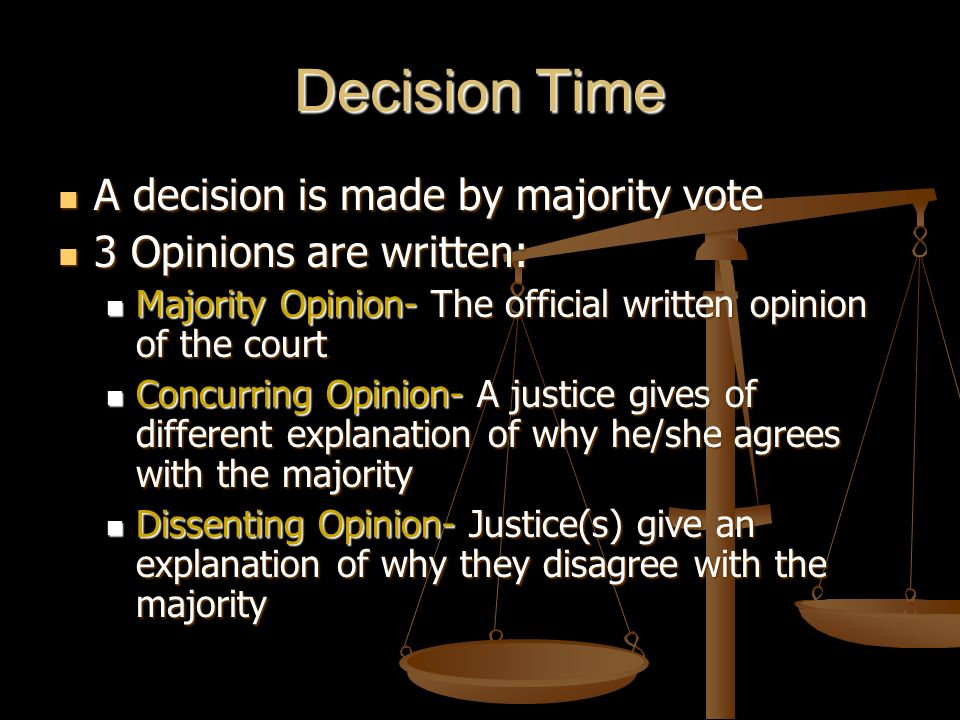 Decision Time A decision is made by majority vote