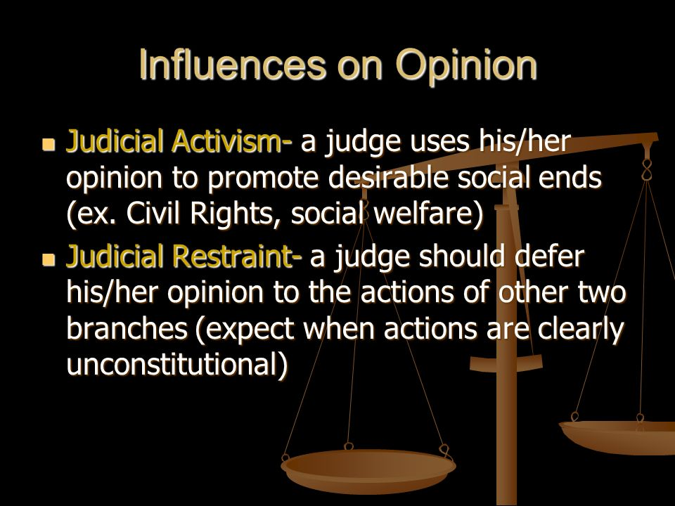 Influences on Opinion Judicial Activism- a judge uses his/her opinion to promote desirable social ends (ex. Civil Rights, social welfare)