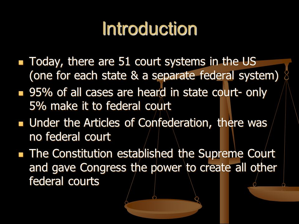 Introduction Today, there are 51 court systems in the US (one for each state & a separate federal system)