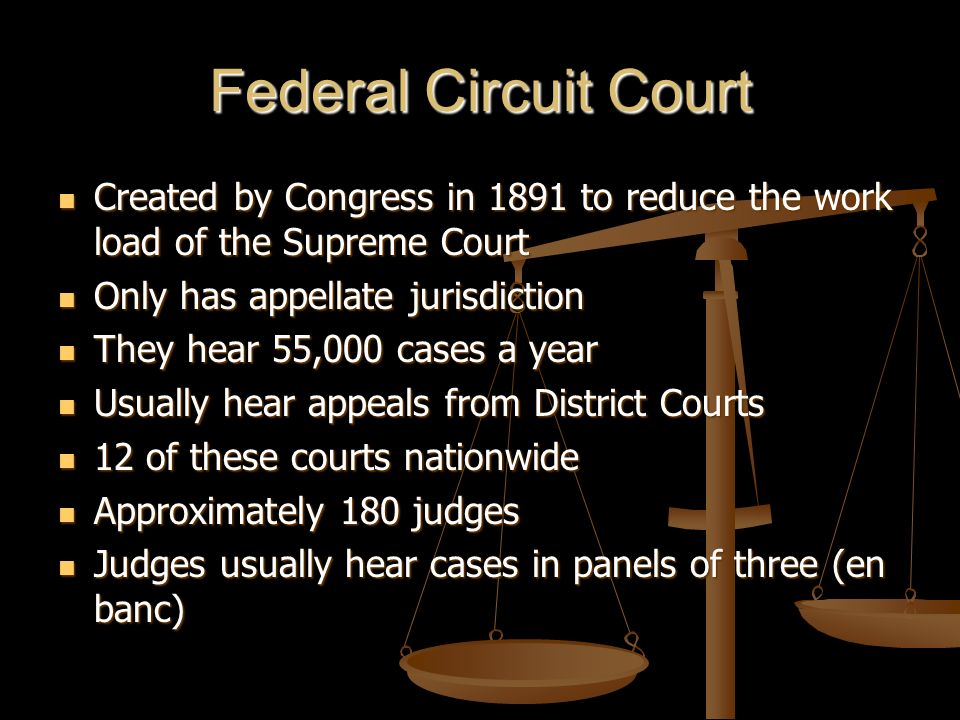 Federal Circuit Court Created by Congress in 1891 to reduce the work load of the Supreme Court. Only has appellate jurisdiction.